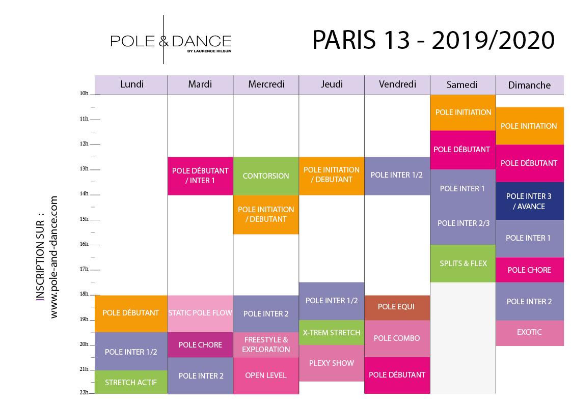Planning des cours de pole dance Paris 13