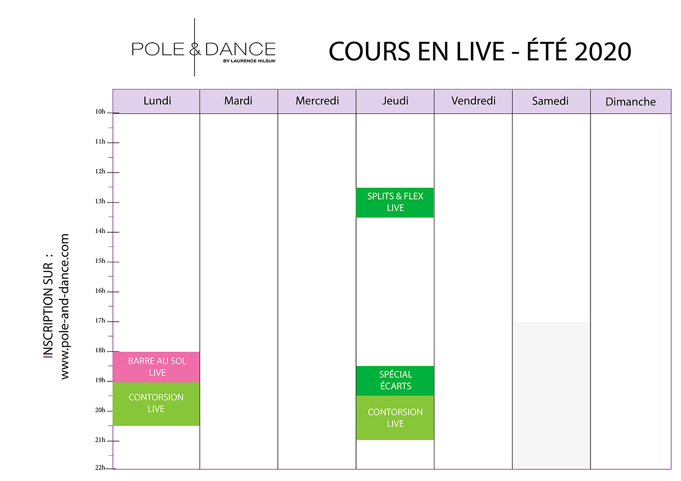 Planning des cours de pole dance Paris